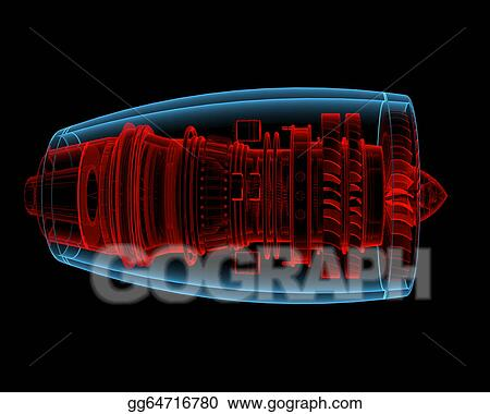 Stock Illustration - Turbo jet engine (3d xray red and b