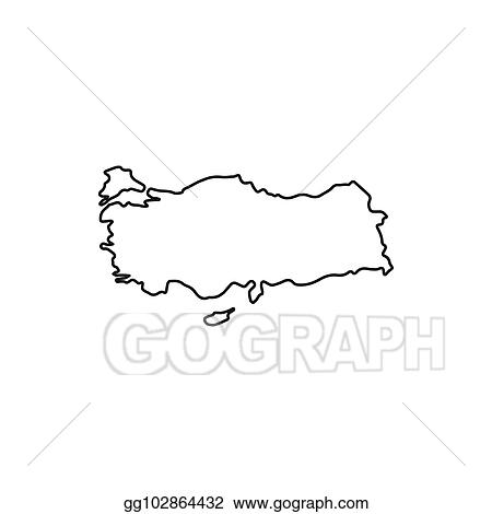 Vector Art - Turkey map icon, outline style. Clipart Drawing ...