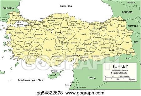 Vector Stock - Turkey with administrative districts and surrounding ...