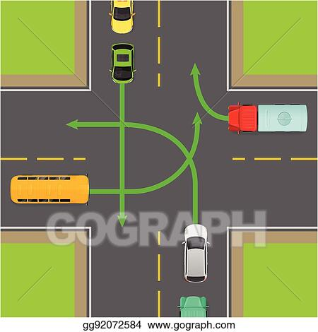 EPS Illustration - Turn rules on four-way intersection vector ...