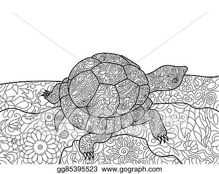Eps Vector Turtle Coloring Book For Adults Vector Stock