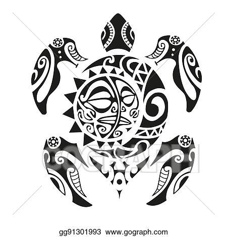 84d49d621 Vector Illustration - Turtle tattoo in maori style. vector ...