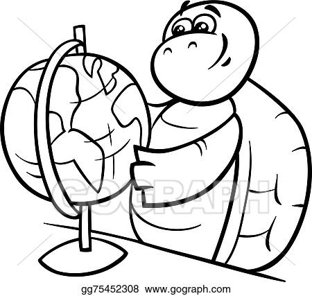 Vector Illustration Turtle With Globe Coloring Page Stock