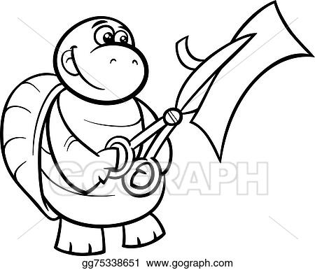 Vector Art Turtle with scissors coloring page EPS clipart