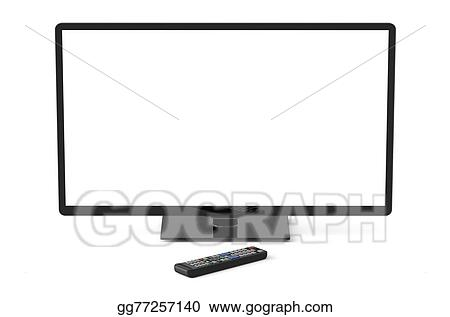 remote control drawing. drawing - tv set with white screen and remote control. clipart gg77257140 control