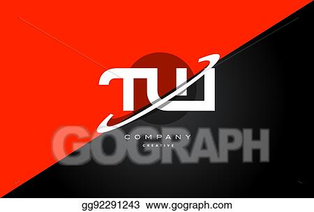 Vector Clipart Tw T W Red Black Technology Alphabet Company