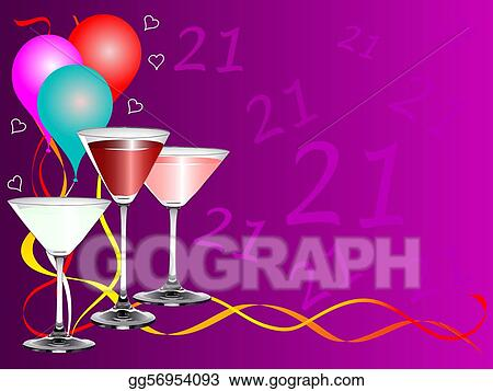 Clip Art Vector Twenty First Birthday Party Background Template Stock Eps Gg56954093 Gograph