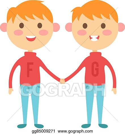 Happy twins. Boy and girl. stock vector. Illustration of children - 73040914