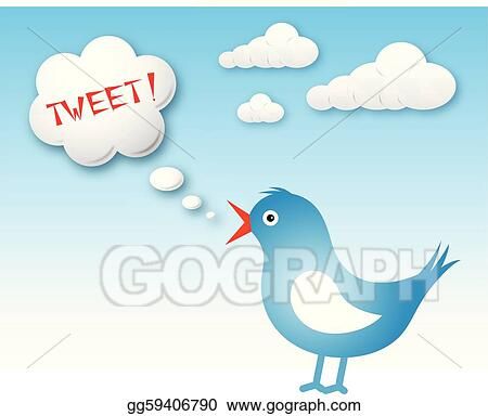 vector art twitter bird and text cloud with tweet eps clipart