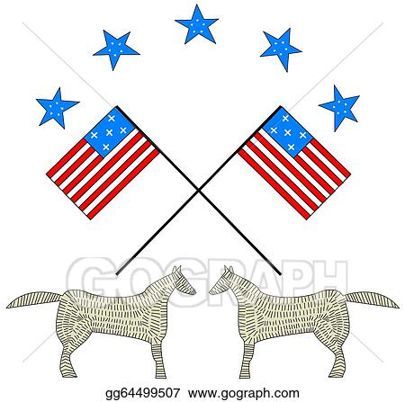Vector Art Two American Flag Waving Clipart Drawing Gg64499507