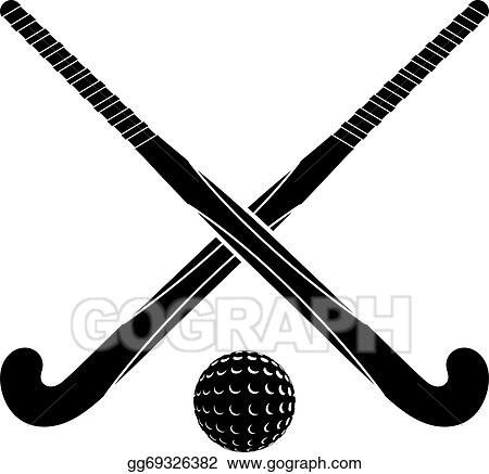 Vector Illustration Two Black Silhouettes Sticks For Field Hockey