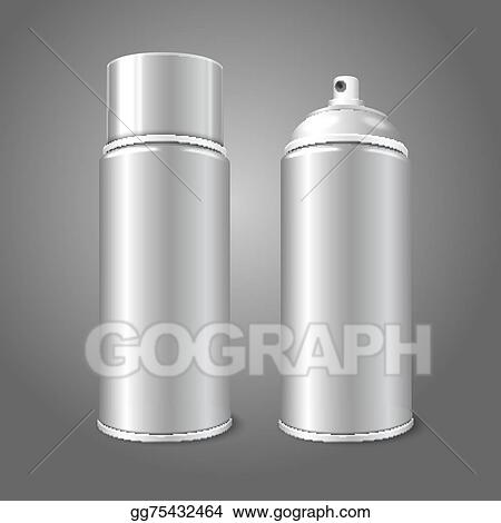 Two blank vector aerosol spray metal 3D bottle cans - opened and with cap.  For paint ba6b1f035f8d