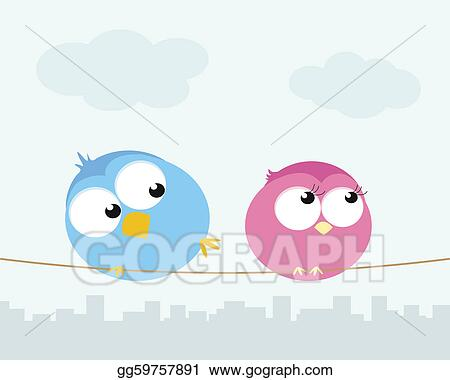 Stock Illustration - Two cartoon birds sitting on a wire. vector ...