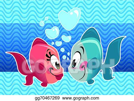 Clip art vector two cartoon cute fishes couple falling for I love the fishes