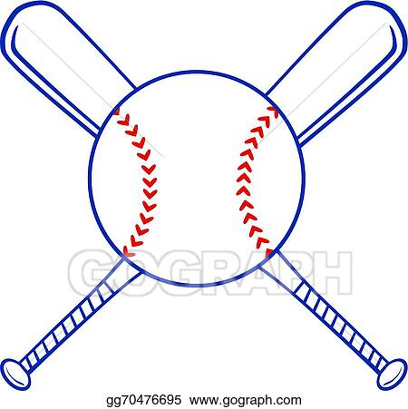 vector clipart two crossed baseball bats and ball vector rh gograph com Baseball Bat and Ball Baseball Bat and Ball