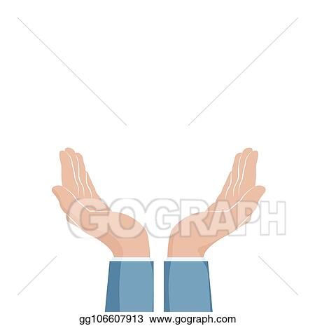 vector illustration two cupped hands supporting hands vector