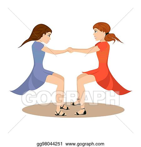 Vector Art Two Cute Girls Whirl In Round Dance Holding Hands Together Isolated For Happy Friendship Day Eps Clipart Gg98044251 Gograph