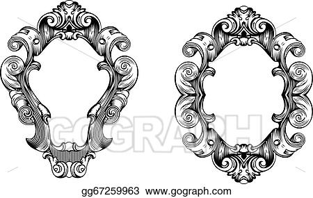 Vector Stock - Two elegant baroque ornate curves engraving frames ...