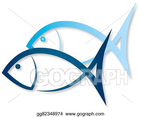 Vector Art Two Fish Symbol Clipart Drawing Gg82348974 Gograph