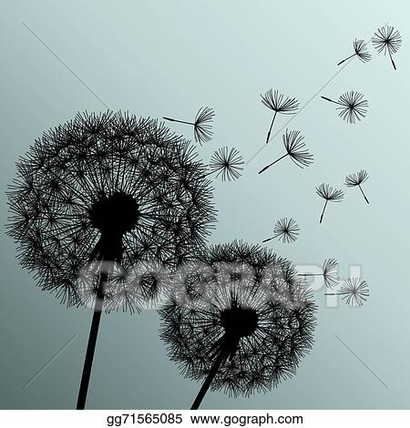 Clip Art Vector Two Flowers Dandelions On Grey Background Stock Eps Gg71565085 Gograph