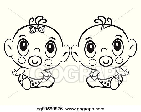39ef6fbd5a44 Vector Illustration - Two funny baby sitting. cute baby boy and girl ...