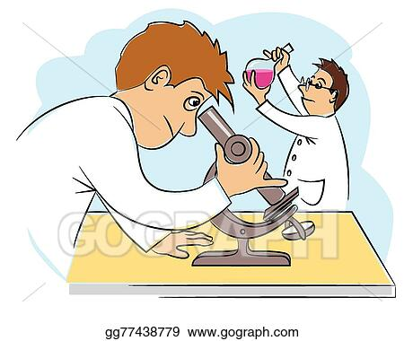 vector art two funny scientists at research work clipart drawing gg77438779 gograph https www gograph com clipart license summary gg77438779