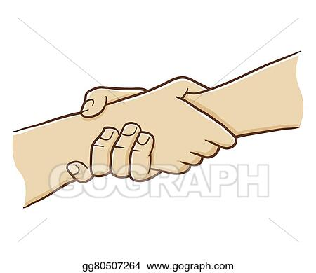 Clip Art Vector - Two hand holding each other with st ...
