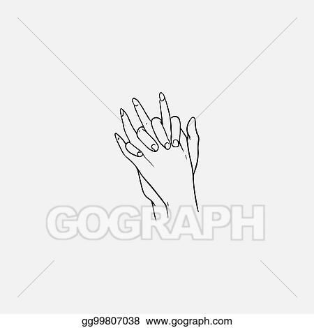 Vector Illustration Two Hands With Interlocked Or Intertwined