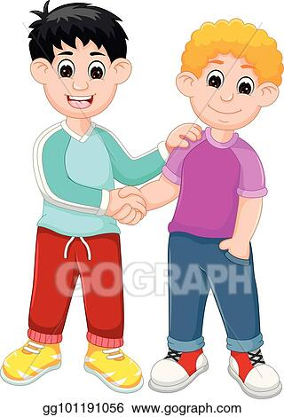 Clip Art Vector Two Handsome Boy Cartoon Standing With Shaking Hand And Smiling Stock Eps Gg101191056 Gograph