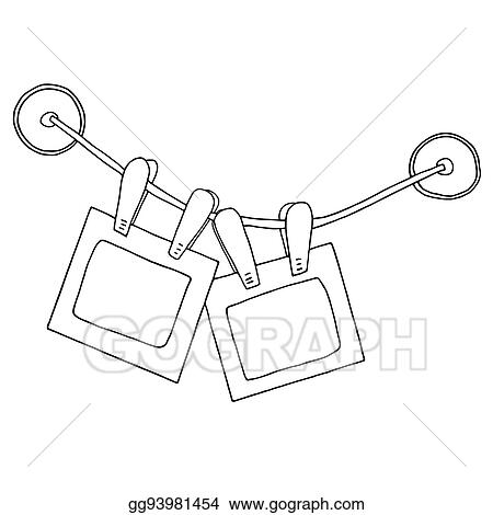 Vector Illustration - Two hanging photo frames with clips on the ...