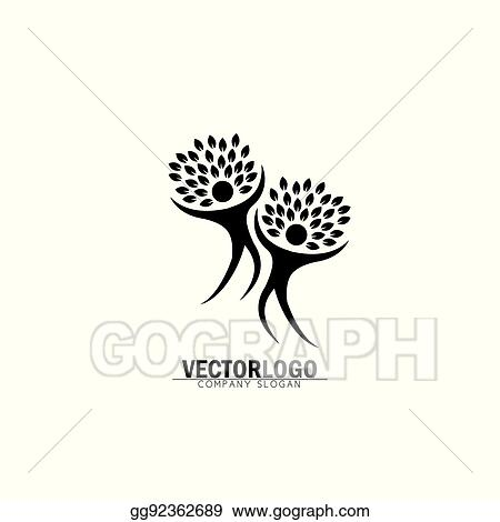 Vector Clipart Two Happy People Tree Vector Logo Icon In Trendy