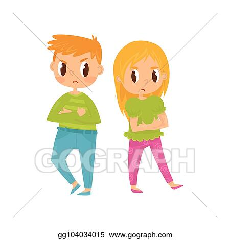 Vector Art - Two little kids, boy and girl with crossed arms and