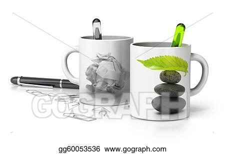 Drawings Two Mugs One Withe A Paper Bullet And The Second One With