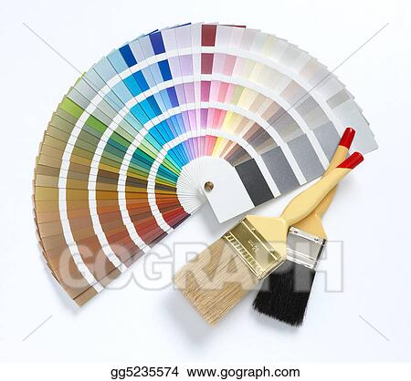 Stock Images Two Paint Brush And Color Chart Stock Photography