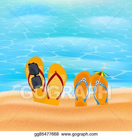 Vector Illustration - Two pairs slap on the seashore  beach