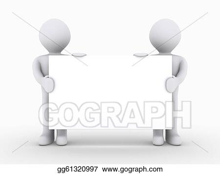 drawings two people are holding blank sign low stock illustration