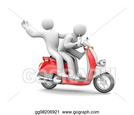 drawings two people riding on a moped 3d illustration stock