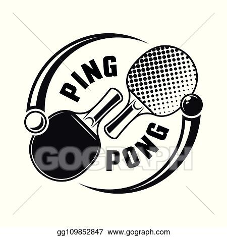 Vector Illustration Two Rackets For Ping Pong Vector Logo Concept