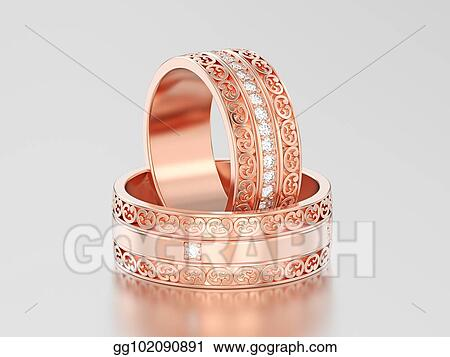 Two Rose Gold Decorative Wedding Bands Carved Out Rings With Ornament