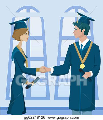 Stock Illustration - Two students in graduation cap and gown