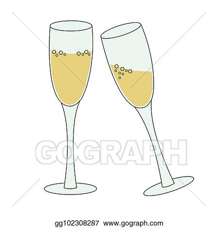 two tall glasses of sparkling wine champagne bubbly concept of new year eve toast or celebration simple vector illustration