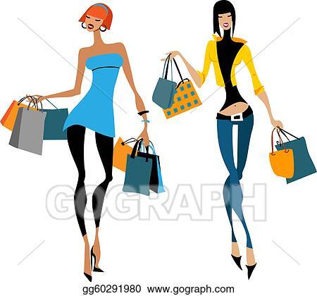 vector stock two women with shopping bags stock clip art rh gograph com Cute Shopping Bag Clip Art Group of Women Shopping Clip Art