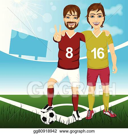 Little football players. Vector illustration of two boys playing football.
