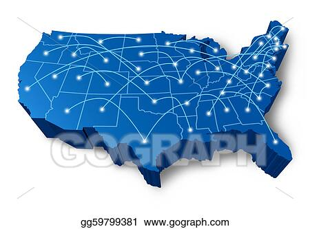 Stock Illustration - U  s  a 3d map communication network