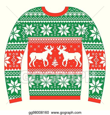 Clip Art Vector Ugly Christmas Jumper Or Sweater Stock Eps