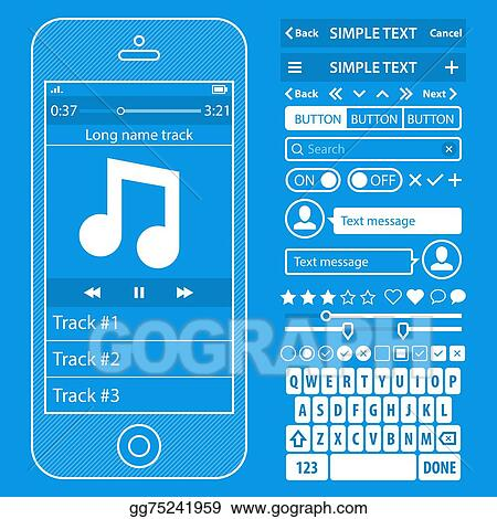 Vector illustration ui elements blueprint design vector kit in ui elements blueprint design vector kit in trendy color with simple mobile phone buttons forms windows and other interface elements music player screens malvernweather Choice Image