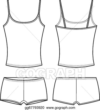 9b71ccbc24a99 Vector Stock - Vector illustration of women s sport underwear. singlet and  shorts. front and back views. Clipart Illustration gg67793920
