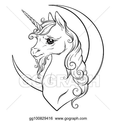 - Clip Art Vector - Unicorn And Crescent Moon Coloring Book Pages. Stock EPS  Gg100829416 - GoGraph