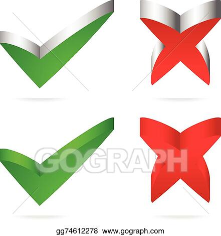Clip Art Vector - Unique green checkmark, red cross  Stock