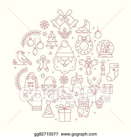 Vector Clipart Unique Vector Concept With Different Christmas And
